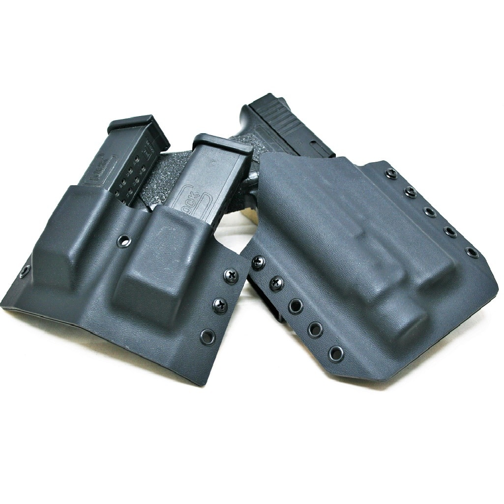OWB Light Bearing Holster and Double Mag Holder Combo
