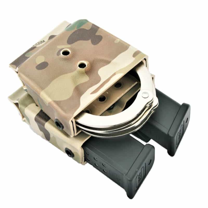 camo handcuff, double mag carrier